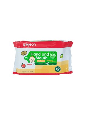 Pigeon 2 In 1 Hand And Mouth Wipes (60 Sheets)
