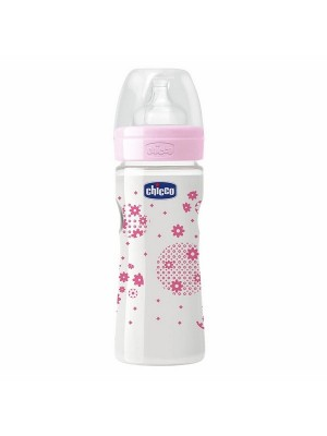 Chicco Bottle Wellbeing 250 ml Sil Pink Flower