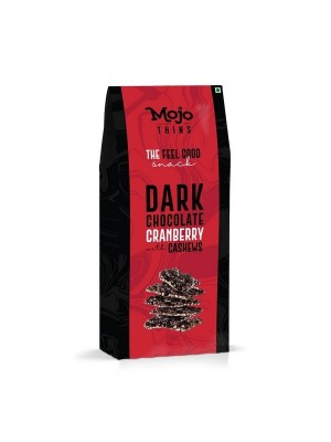 Mojo Thins Dark Chocolate Cranberry with Cashews 100 Gm