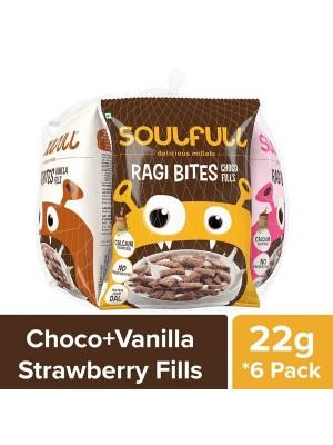 Soulfull Ragi Bites - Choco/S'Berry/Vanilla Fills, 6*28 gm
