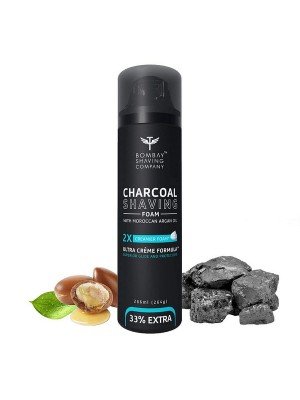 Bombay Shaving Company Activated Charcoal Shaving Foam With Moroccan Argan Oil And 2X Creamier Formulae For Superior Glide And Protection 266 ml